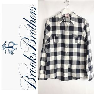 Brooks Brothers Red Fleece Flannel Navy Plaid 10